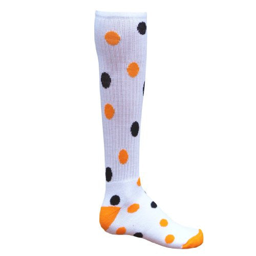 Dual Color Spots Pattern Acrylic Athletic Socks, Medium, White/Gold/Black