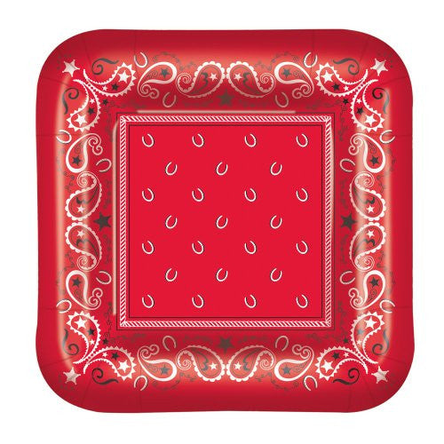 Bandana Plates (square-shaped) Party Accessory  (1 count) (8/Pkg)