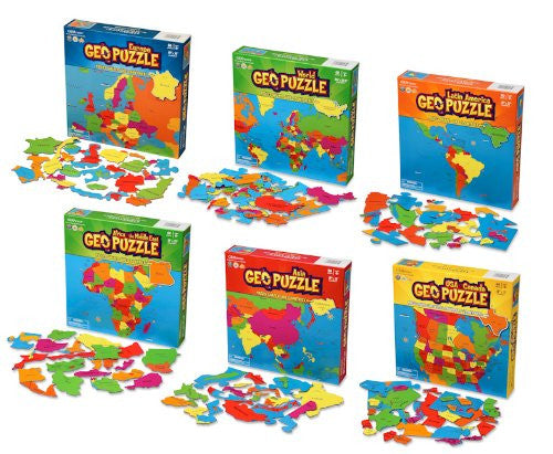 Complete Set - 6 Educational Geography Jigsaw Puzzles