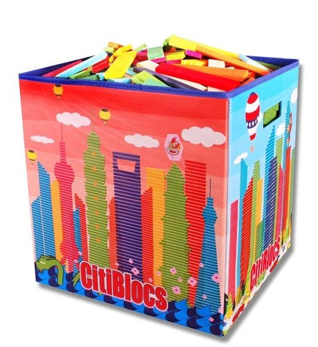 CitiBlocs - Multicolor Building Block Set with 500-Pieces and Storage Bin, Assorted Colors, 0BCTBIN500C