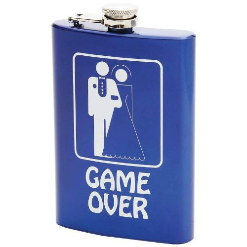 8oz Stainless Steel Flask - Blue, Game Over Graphic