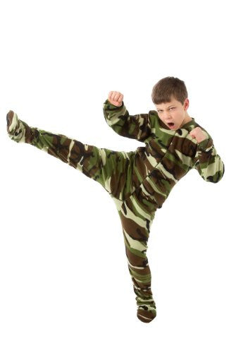 Big Feet Pjs Kids Green Camo (605) Fleece Footed Pajamas