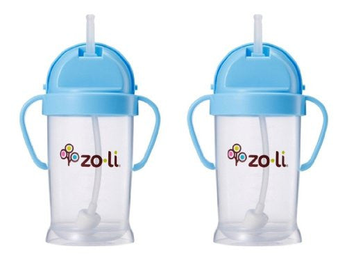 Zoli Baby Bot XL Straw Sippy Cup 9 oz - 2 Pack, Blue/Blue