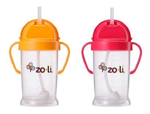 Zoli Baby Bot XL Straw Sippy Cup 9 oz - 2 Pack, Orange/Pink