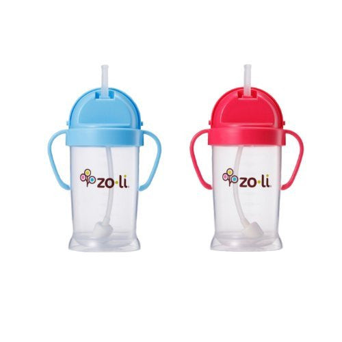 Zoli Baby Bot XL Straw Sippy Cup 9 oz - 2 Pack, Blue/Pink