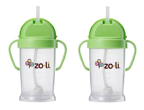 Zoli Baby Bot XL Straw Sippy Cup 9 oz - 2 Pack, Green/Green