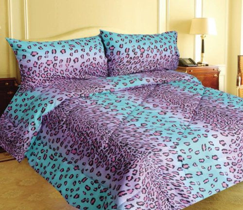 Blue Leopard Queen Size Printed Bed Sheet