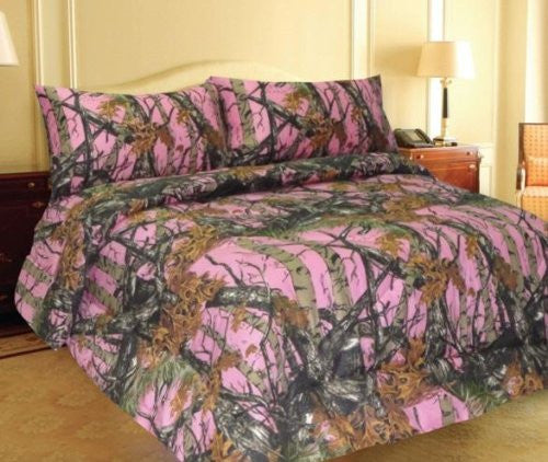 """The Woods"" Pink Camouflage 800 Print Bed Sheet - Queen"