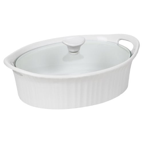 Corningware French White III Oval Casserole with Glass Cover, 2.5-Quart