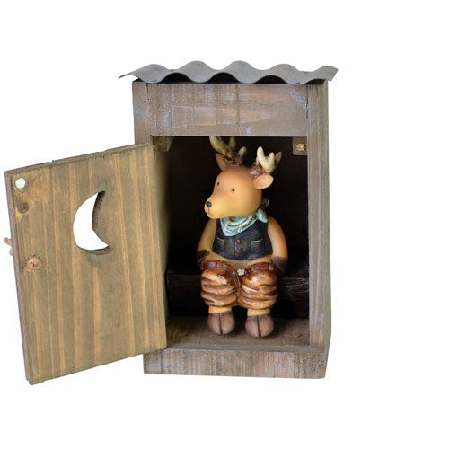 "DEER IN AN OUTHOUSE/ 7"" TALL"