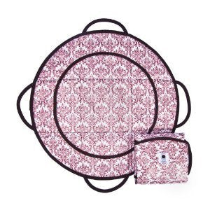 Patemm Round Baby Diaper Changing Pad ~ Manhattan Momma Pink & Gray