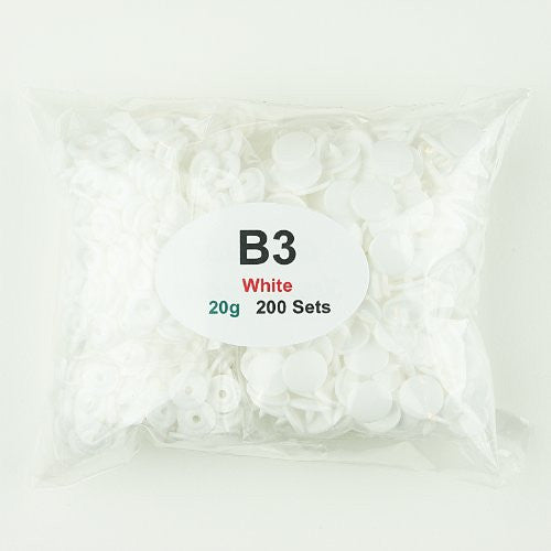 Glossy #20 Snaps Set B3 White (500 sets per color)