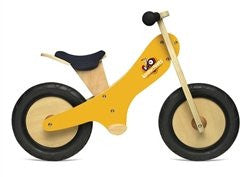 Yellow Chalkboard wooden balance bike with foot pegs, adjustable seat and EVA airless tires