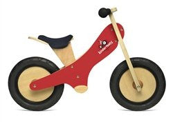 Red Chalkboard wooden balance bike with foot pegs, adjustable seat and EVA airless tires