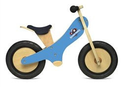 Blue Chalkboard wooden balance bike with foot pegs, adjustable seat and EVA airless tires