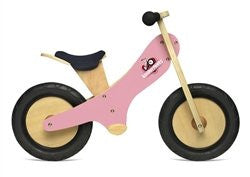 Pink Chalkboard wooden balance bike with foot pegs, adjustable seat and EVA airless tires
