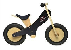Black Chalkboard wooden balance bike with foot pegs, adjustable seat and EVA airless tires