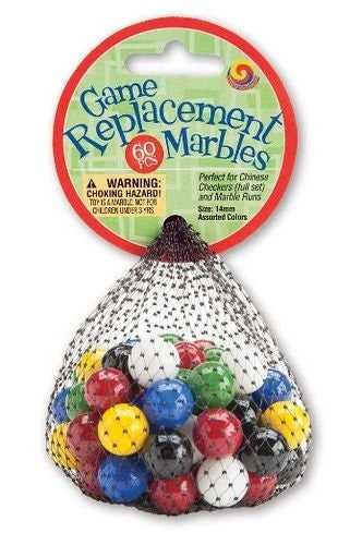 MARBLES 14MM 60 PIECE CHINESE CHECKERS MARBLES