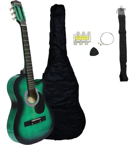 "38"" Acoustic Cutaway Guitar Starter Kit (Colour-Green)"