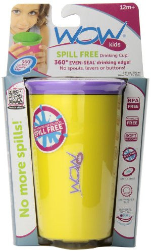 Wow Cup for Kids - NEW Innovative 360 Spill Free Drinking Cup - BPA Free - 8 Ounce (Yellow)