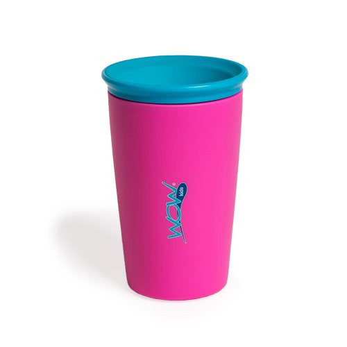 Wow Cup for Kids - NEW Innovative 360 Spill Free Drinking Cup - BPA Free - 9 Ounce (Pink)