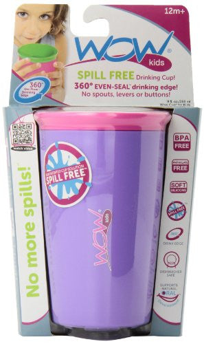 Wow Cup for Kids - NEW Innovative 360 Spill Free Drinking Cup - BPA Free - 9 Ounce (Purple)