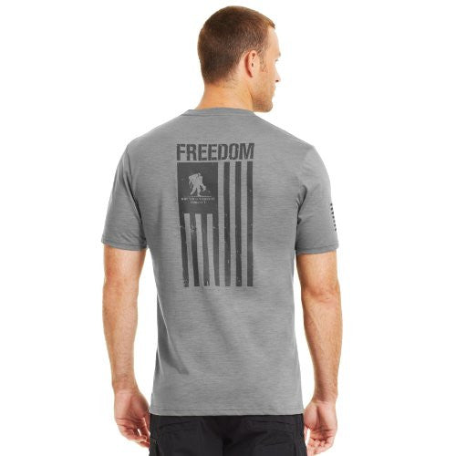 WWP Freedom Flag T-Shirt - True Heather Gray/Black, X-Large