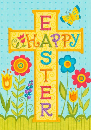 """Happy Easter"" Cross Flowers & Butterfly 12""x18"" Garden Flag"