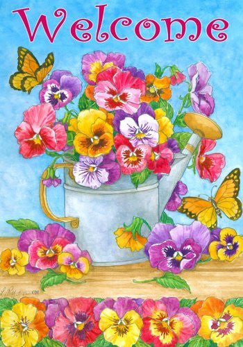 """Welcome"" Pansies in Watering Can and Butterflies 12""x18"" Garden Flag"