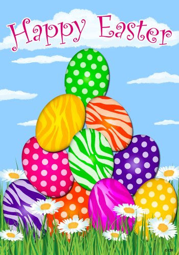 """Happy Easter"" Polka Dot and Zebra Striped Decorated Eggs, Daisies Whimsical 12""x18"" Garden Flag"