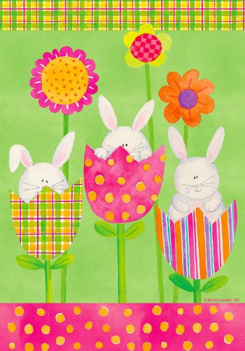 "Bunnies in Tulips, Flowers Whimsical 12""x18"" Garden Flag"
