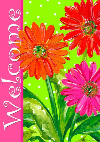 "Bright Gerber Daisiers ""Welcome"" 12""x18"" Garden Flag"