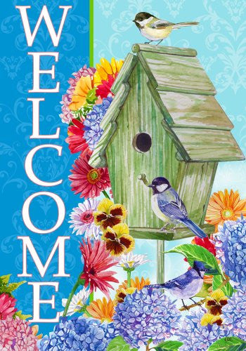 Custom Decor Spring Garden Flag Welcome Birdhouse