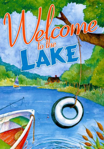"Tire Swing "" Welcome to the Lake "" - 28 Inch X 40 Inch Standard Decorative House Size Flag"