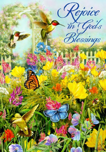 Rejoice in Gods Blessings Monarch Butterfly Hummingbird House Flag 28 x 40