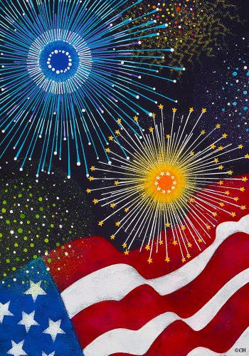 """ Liberty "" - American Flag & Fireworks Garden Size 12 Inch X 18 Inch Decorative Flag"