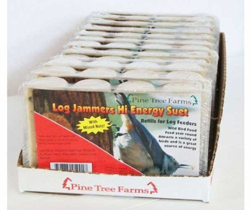 Pine Tree Log Jammer Hi-Energy Suet Plugs, Twelve 4-packs