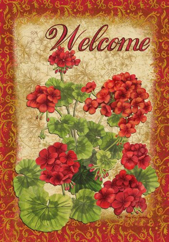 Spring Summer Elegant Welcome Geranium House Flag 28 x 40