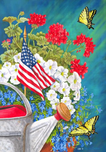 Patriotic Floral Geranium Petunia Watering Can Butterfly House Flag 28 x 40