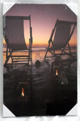 Beach Chairs Canvas Picture with LED Lights