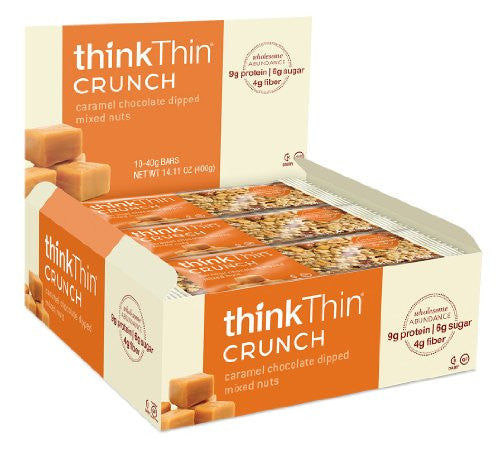 thinkThin Caramel Chocolate Dipped Mixed Nuts Crunch Bar (10x1.41oz)