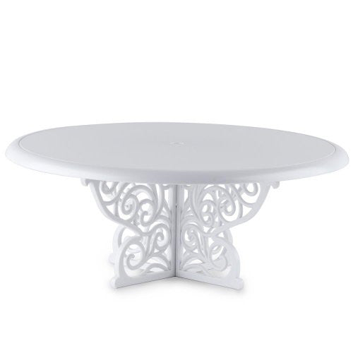 "Fancy Scrolls Cake Stand - White 13.5""X6"""