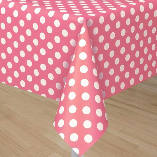 "Plastic Tablecover 54""X108"" - Hot Pink Decorative Black"