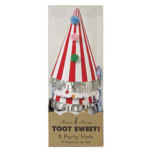 "Toot Sweet Party Hats - 8 pcs - 10"" x 4"" x 4"""