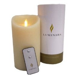 "Luminara Flameless Candle 7""x4"", Battery Operated with Remote Control and Timer"