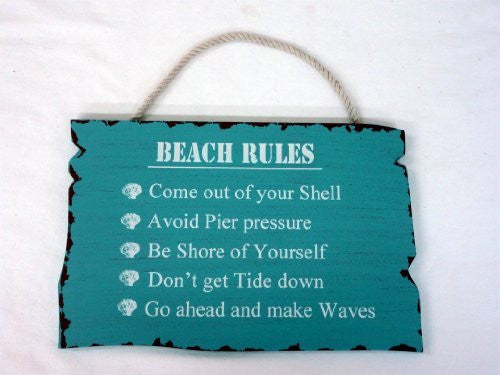 "Beach Rules"" Wood Sign 89-2944"