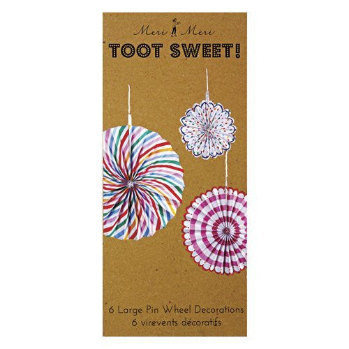Toot Sweet Pinwheel Decorations - 6 pinwheels in three sizes, each with 2 styles - Large; 14 inch diam., Medium; 11 inch diam., Small; 7 inch diam.