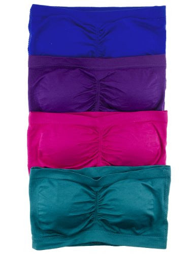 Anenome Women's Strapless Seamless Bandeau Padding (2 or 4 pack)