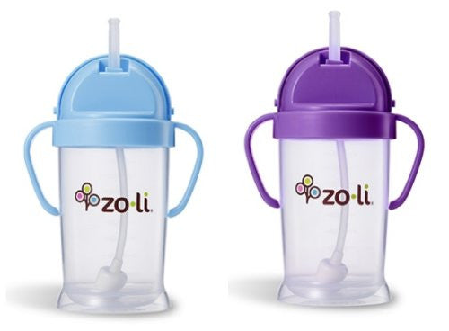 Zoli Baby Bot XL Straw Sippy Cup 9 oz 2 Pack, Blue/Purple