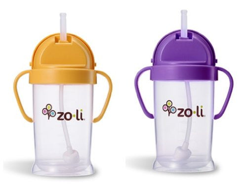 Zoli Baby Bot XL Straw Sippy Cup 9 oz 2 Pack, Orange/Purple